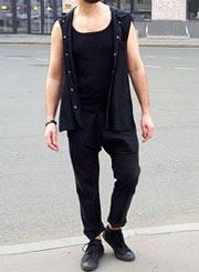 Мужские брюки East с запахом впереди и низкой мотней