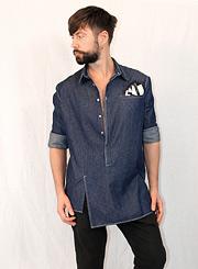 Джинсовая рубашка мужская с длинным рукавом фото